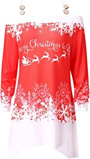 DongDong ☃Sexy Sling Off Shoulder Top- Women's Casual Christmas Letter Printed Long Tunic Blouse T-Shirt