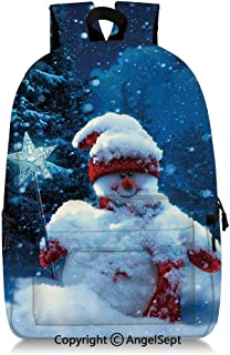 Kids School Backpack Snowman with Magic Wand and Fir Branches