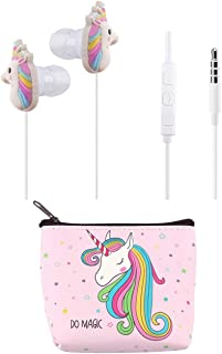 Unicorn Headphones for Kids Teens Girls, TMHH Cute Rainbow Earphones with Pink Earbuds Case, Tangle-Free Cords, Microphone, Volume Limiting for Airplanes School (Pink)