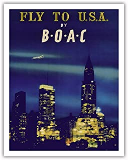 Pacifica Island Art Fly to U.S.A. - New York City Night Skyline - BOAC (British Overseas Airways Corporation) - Vintage Airline Travel Poster 1950 - Fine Art Print - 11in x 14in