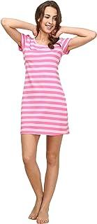 QIANXIU ثوب النوم المرأة القطن قميص ليلة للنوم قصيرة الأكمام لطيف شريط النوم