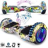 Magic Vida Skateboard Elettrico 6.5 Pollici Bluetooth con Due Barre LED Monopattini elettr...