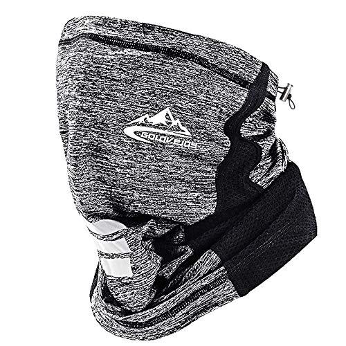 KOOLSEN ネックガード ランニング 夏 フェイスカバー UVカット 冷感 日焼け防止ネックカバーランニング ハイキングフィッシング サイクリング (ホワイト)