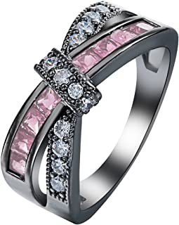 Promise Women Mystery Cross Fashion Love Eternity Gold Filled Vintage Wedding Birthday Stone Gifts Pink Black Rings