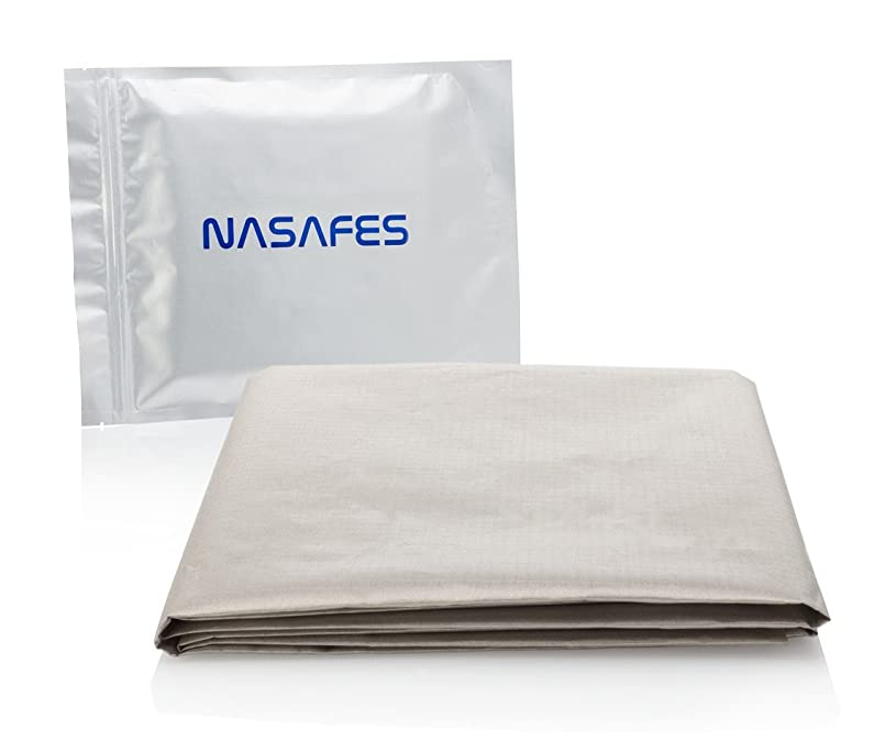 放つ特別な機動EMF(電磁場)防護布 - 大サイズ - 108 x 92 CM - 放射線防護 - Wifiを妨害する - EMF(電磁場)シールド - RFID - 抗放射線 - 銅ニッケルの導電性シールド布 - 0.08 CMで非常に薄い