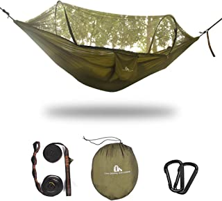 iClimb Pop-Up Camping Hammock with Net, Supports 770 lbs (Olive - 2 Pole)