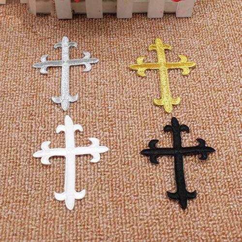 5 stuks/Lot Gold Jezus Crosses borduurvlekken kerk applicatie kanten boord ijzer op 3D Cosplay kostuum 7,5 * 10 cm DIY Kleuren mengen