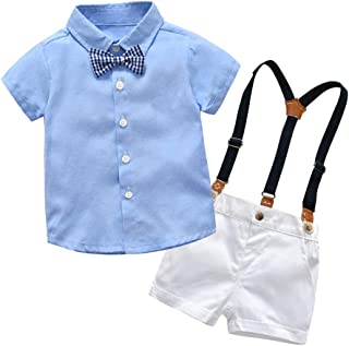 2Piece Infant Baby Boys Gentleman Outfit Set, Bowknot Stripe Shirt Suspenders Shorts Overalls, Party Suit