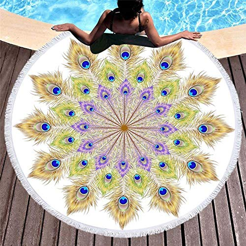 Vanzelu ronde strandhanddoek met mancharo-opdruk, microvezel-strandhanddoek, 150 x 150 cm H