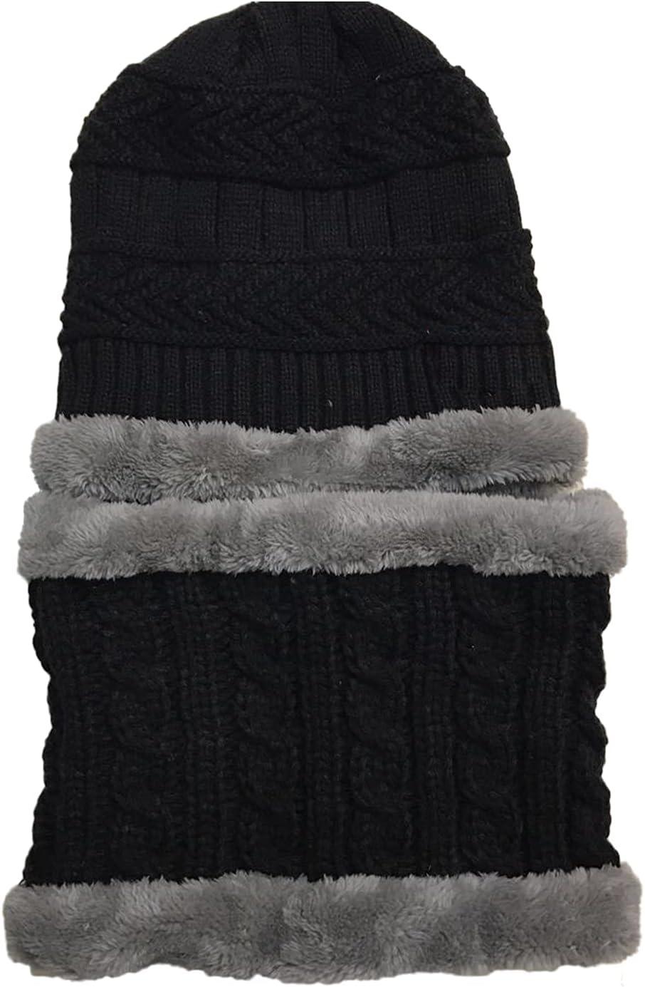 Warm Knitted Hat Scarf Set Thicken Fleece Lined Beanie Cap Neck Warmer Soft Hat Neck Gaiter for 2- 10 Years Old Children Toddler Girls Boys