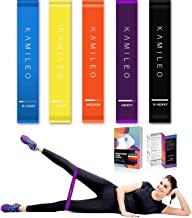 Kamileo Resistance Loop Exercise Bands, Resistance Workout Bands Set for Legs, Butt, Home Fitness, Crossfit, Stretching, Strength Training, Physical Therapy (High-end Exercise Loop Bands(Set of 5)