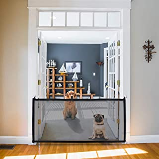 Kejo Pet Gate, Magic Gate, Portable Folding Mesh Guard Pet Safety Gates Baby Safety Fence Safe Guard The House Works as a pet gate to Providing a Safe Enclosure to Play and Rest,70.9