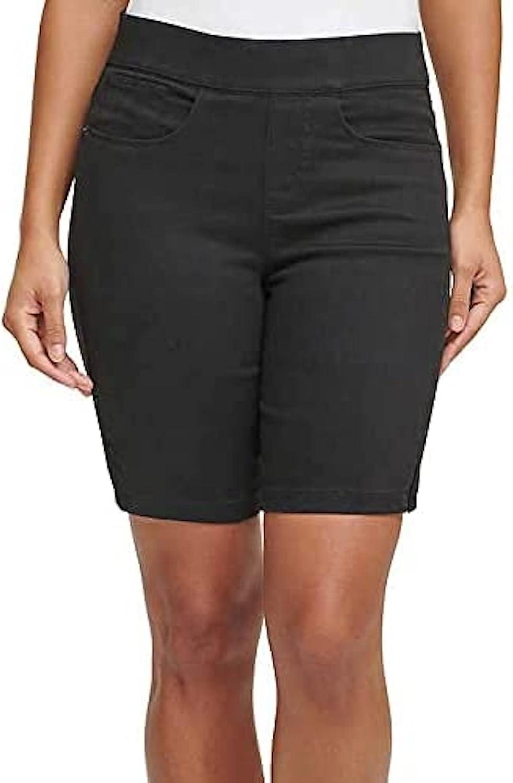 DKNY Jeans Women's Comfort Stretch Pull-On Bermuda Short (Black, Medium)