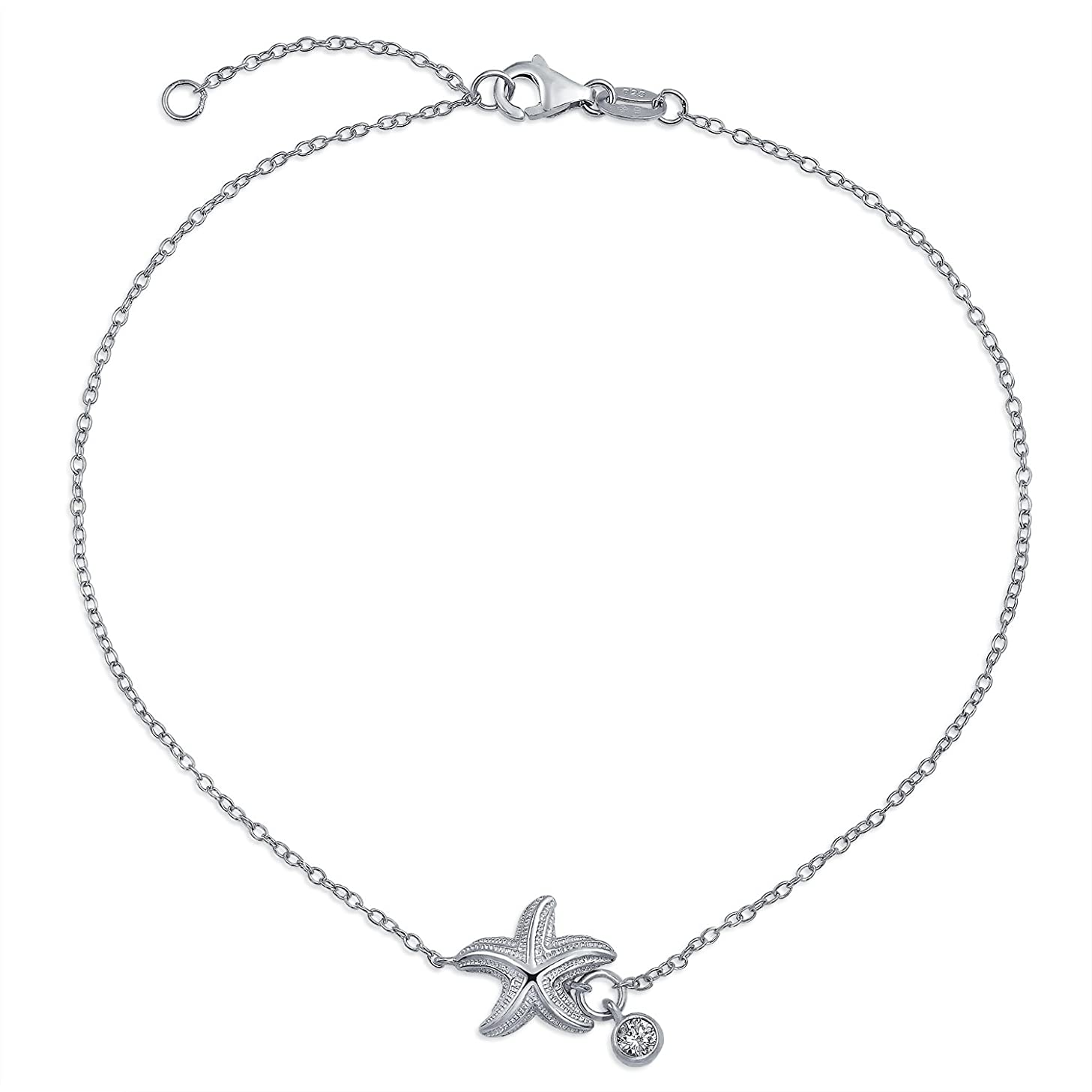 Nautical Starfish Sea Life CZ Accent Anklet Ankle Bracelet 925 Sterling Silver Adjustable 9 to 10 Inch Extender