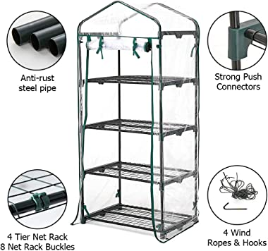 Greenhouse 4 Tier Mini Greenhouse 63x28x20 in Portable Garden Green House, with Zippered PVC Cover, Metal Shelves for Garden
