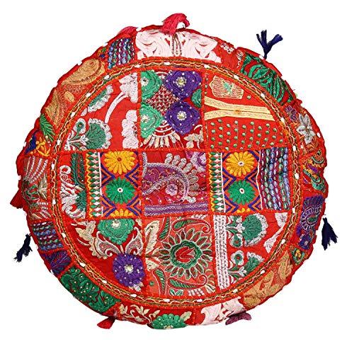 Casa Moro XXL Patchwork Yogakissen Lali Groß Rot Ø 78cm x Höhe 10cm rund mit Füllung | Indisches Sitzkissen Bodenkissen orientalisches Chillkissen im Boho Style | MA1808
