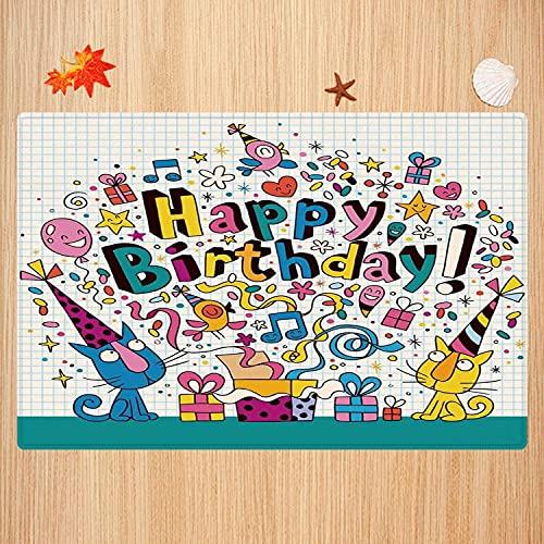 Alfombra de baño Antideslizante,Decoraciones de cumpleaños para niños, Bloc de Notas de matemáticas Inspirado en Dibujos Animados Apto para Cocina, salón, Ducha (50x80 cm)
