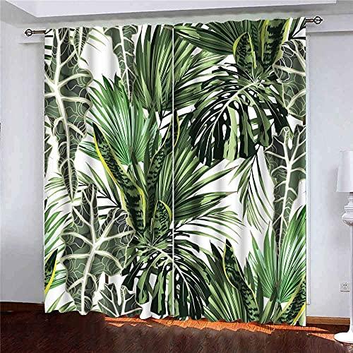 Vackert blommönster bakgrund tropisk ljus palmblad exotiska växter perfekta tapeter webbsida fönster gardin paneler barn pojkar flickor 2 paneler för vardagsrum sovrum dekor