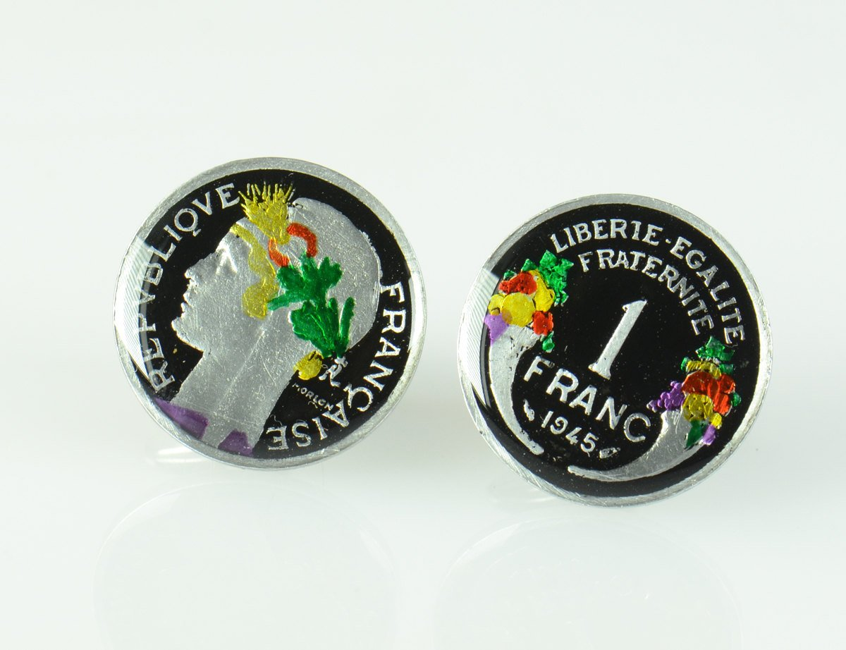 Ranking TOP2 Cufflinks Max 86% OFF hand painted enamel links France Cuff coin.