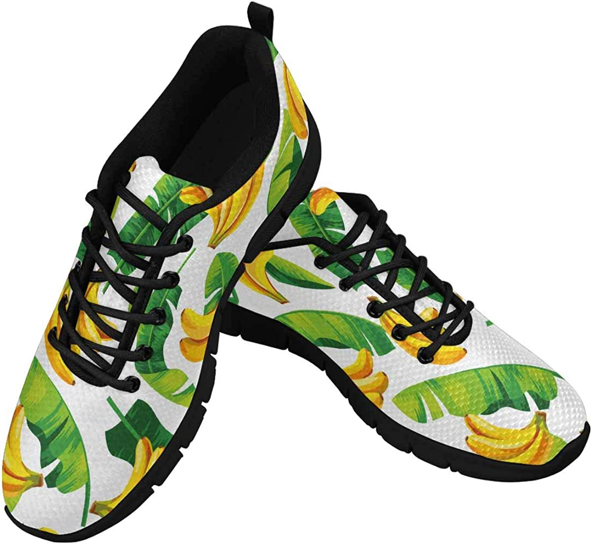 InterestPrint Pattern with Banana Leaves and Bananas Women's Walking Shoes Lightweight Casual Running Sneakers