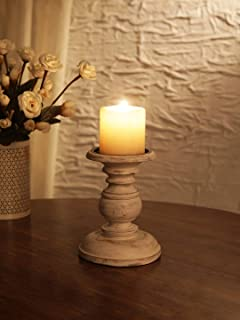 Ardour Distressed White Wooden Pillar Candle Holder for Home Decor Fireplace/Wedding/Table Top Accessories - 6 Inches