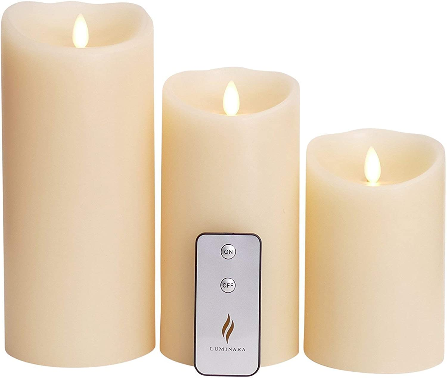 Flameless Candle with Remote & Timer 3.5-Inch by 5 7 9-Inch Pillar Candle with Moving Wick,Ivory