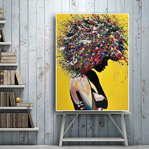 yaoxingfu Abstrakte afrikanische Frau Bild auf Leinwand Leinwandmalerei Wandkunst Handwerk hängen Heimdekoration 60x90cm