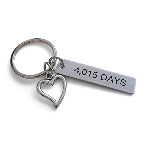 "Stainless Steel Tag Keychain Engraved with""4,015 Days"" with Heart Charm; 11 Year"