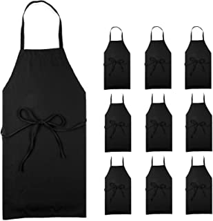 Professional Black Bib Aprons for Restaurant - Set of 12 Durable Adult Waitress Chef Kitchen Apron for women & men (Bulk 12 Pack - Black)