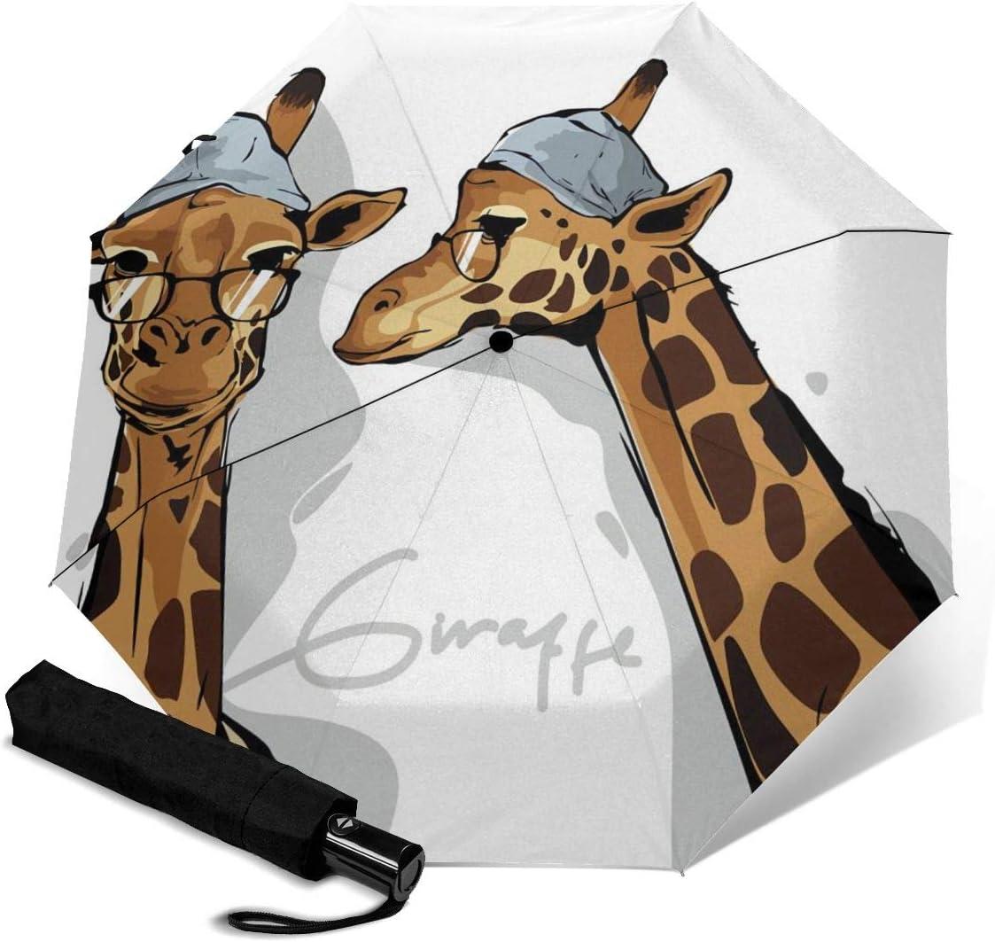 Automatic Max 44% OFF Tri-Fold Umbrella Sales The Travel Giraffe Windproof Learned