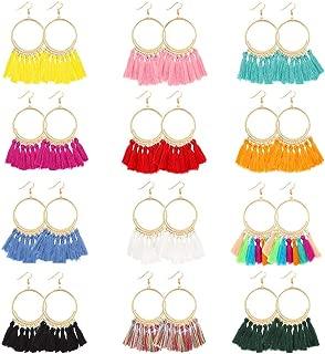 12 Pairs Hoop Tassel Earrings for Women & Girls by JieyueJewelry, Bohemian Fan Tassel Drop Earrings Fish Hook Dangle Earrings Statement Earrings