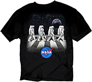 NASA Shuttle & Star Abbey Road Adult Black Graphic T-Shirt - Black - Large