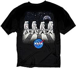 NASA Shuttle & Star Beatles Abbey Road Adult Black Graphic T-Shirt