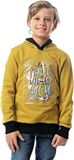 Andora Contrast Ribbed Trim Printed Hoodie For Boys