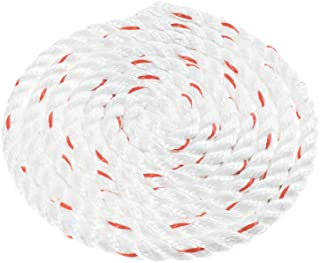 Twisted 3 Strand PolyDac Combo Utility & Towing Rope - White with Red Tracer – 3/8, 1/2, 5/8, 3/4, 1, 1-1/2, 2 inch Diameters in 10, 25, 50, 100, 250, 300, 500, 600 Feet