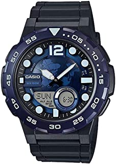 casio analog digital watch with world time and 30 telememo for boys aeq-100w-2a