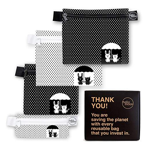 Bolsas ecológicas reutilizables para bocadillos y sándwiches, juego de bolsas de diseño cero residuos aptas para lavavajillas,...