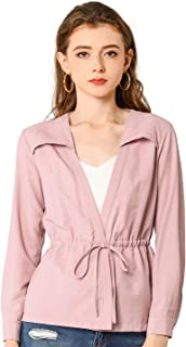 Allegra K Women's Casual Solid Color Drawstring Waist Long Sleeve Thin Jacket