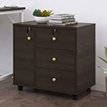Mobile File Cabinet, 3-Drawer Lateral Filing Cabinet with Wheels & Locks, Storage Drawer + Storage Cabinet, Modern File St...