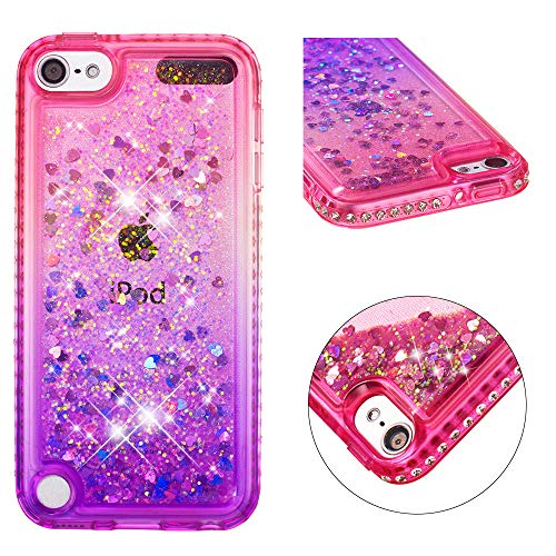 Brillantini Custodia Mascheri iPod Touch 5 Cover iPod Touch 6 Bling Glitter Backcover con Bordo di Strass Trasparente TPU Liquido Brillantini Shell Cover Custodia per iPod Touch 5/6 ,Pink Purple