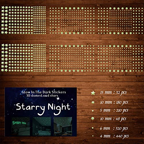 1230 PCS Ultra Glow in The Dark Stars Wall Stickers, 3D Adhesive Dots Decor Starry Sky Decor for Kids Bedroom or Birthday Gift,Beautiful Wall Decals