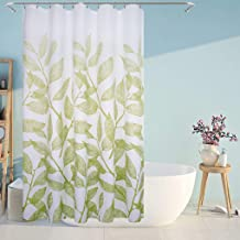 Eforcurtain Fresh Green Leaves Print Shower Curtain White Background Stall Extra Long, Decorative Polyester Fabric Bathroom Curtain Water Resistant, 54 by 78 Inches