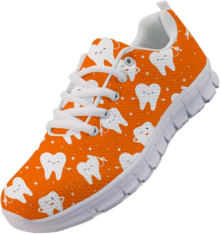 Mumeson Comfy Walking Sneaker Women Girls Casual Flat Sports shoes Cartoon Dentist Dentistry Teeth Pattern