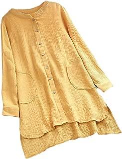 Mogogo Womens Casual Long-Sleeve Single-Breasted Irregular Top Shirt