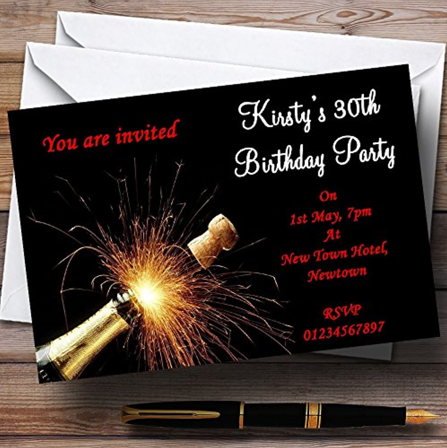 Champagne Cork Red Personalised Party Invitations   Invites & Envelopes