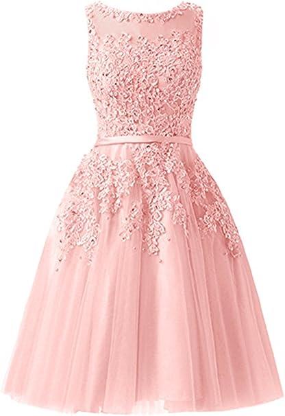 Everbeauties Damen Knielang Damen Abendkleider Perlstickerei Spitze Applique T Ll Kurz Ballkleid Rosa2 48 Amazon De Bekleidung
