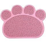 UEETEK Alfombrilla para Comederos de Perros y Gatos Antideslizante Estera para Mascota 30x40cm (Rosa)