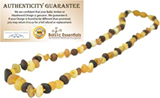 """Baltic Amber Necklace Raw Multi 12.5"""" Authenticy Certificate All Natural 100% Safe (Multi)"""