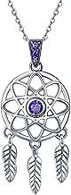 Qings Dreamcatcher Dangle Pendientes, Pendientes de Plata de Ley 925 con Cristales Morados Regalo para Niñas Mujeres