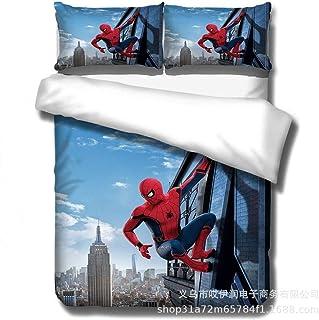 JYHTK Juego De 3 Piezas Fundas Nordicas Doble Juego De Cama con Estampado 3D Spider-Man 100% Microfibra con Cremallera - 1 Funda Nórdica + 2 Fundas De Almohada (Spider-Man-02,150x200)